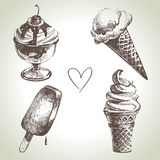 Ice cream set. Hand drawn illustrations Stock Photo