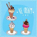 Ice cream set in handmade cartoon style. Ice cream set contains differents waffle cones with vanilla or fruit and chocolate ice cream, with berries, chocolate Royalty Free Stock Photography