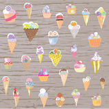 Ice cream set - retro style hand drawn illustration Stock Photo
