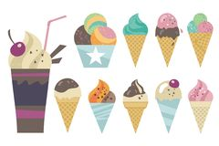 Ice cream set. Sweet set with ice creams in various combinations Stock Images