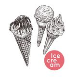 Ice cream set. Waffle cones with ice cream set. Isolated dessert with pieces of chocolate and icing. Black and white. Vintage engraving. Vector illustration vector illustration