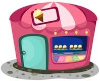 Ice cream shop. Illustration of isolated  cartoon ice cream shop on white Stock Image