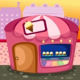 Ice cream shop. Illustration of cartoon ice cream shop royalty free illustration