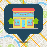 Ice cream shop building pinpoint on city map. Royalty Free Stock Photos