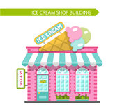 Ice cream shop building. Vector flat style illustration of ice cream shop building. Signboard with big ice cream cone. Isolated on white background Stock Images
