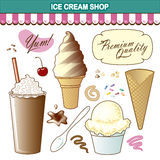 Ice Cream Shop Illustration Set Toppings Royalty Free Stock Photography