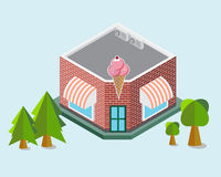 Ice cream Shop Isometric Building Element Royalty Free Stock Images