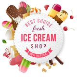 Ice cream shop label with type design Stock Photo