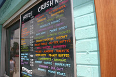 Ice Cream Shop Menu Royalty Free Stock Photography