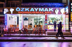 Ice Cream Shop In The Night. Ice cream shop at night in Cinarcik town. Cinarcik town is a popular summer vacation area for the visitors coming from Istanbul city Royalty Free Stock Images