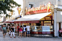 Ice cream shop in the pedestrian street of Saintes-Maries-de-la- Stock Image