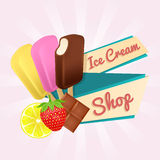 Ice Cream shop poster with popsicles and ribbon. Stock Photography