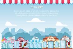 Ice cream shop set buildings facades. Vector illustration design vector illustration