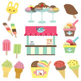 Ice cream shop set Stock Photos