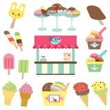 Ice cream shop set Stock Photos