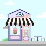 Ice Cream Shop Store Front Building Background Illustration. Ice Cream Shop Store Front Building Vector Background Illustration Graphic Design Royalty Free Stock Photos
