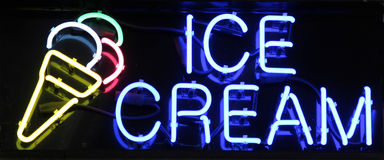 Ice Cream Sign. A colorful neon sign reading Ice Cream Stock Images