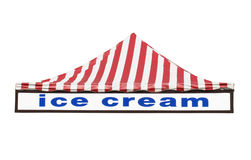 Ice cream sign and tent top isolated. Royalty Free Stock Image