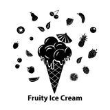 Ice cream silhouette graphic with different fruits. And berries Royalty Free Stock Photography