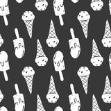 Ice cream simple sketh drawn by hand seamless pattern in cartoon style with cone, eskimo. For wallpapers, web background royalty free illustration