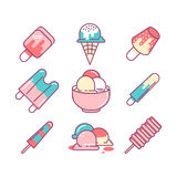 Ice-cream sings set. Thin line art icons. Flat style illustratio Royalty Free Stock Image