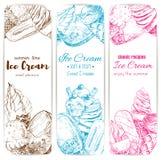 Ice cream sketch banner set for food label design. Ice cream sketch banner set. Soft serve ice cream cone, chocolate covered ice cream on stick, sundae dessert Stock Photo