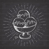 Ice cream sketch, Vintage label, Hand drawn grunge textured badge, retro logo template, typography design vector illustration Royalty Free Stock Images