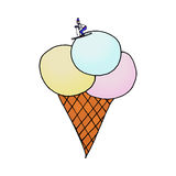 Ice-cream with skier. The skier rides on a ice cream Royalty Free Stock Image