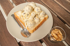 Ice cream on a slice of bread Royalty Free Stock Image