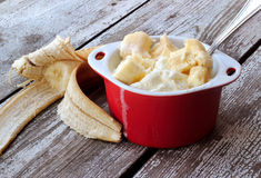 Ice cream with slices of banana Stock Photo