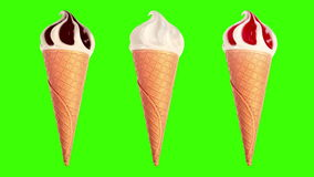 Ice Cream slowly rotating on a green background stock footage