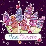 Ice cream smiles set vector illustration