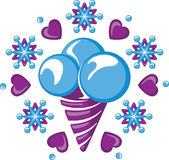 Ice-cream among snowflakes and hearts. Ice cream cornet with three ice-cream scoops among snowflakes and hearts Royalty Free Stock Photos