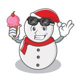 With ice cream snowman character cartoon style stock illustration