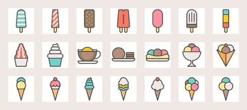 Ice cream, soft serve,ice shave, scoop in crape and popsicle filled color line icons. Size 128 px , 4 px stroke width, on grid Stock Image