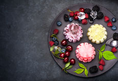 Ice cream sorbet berries and fruits Stock Photo
