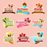 Ice cream sorts stickers vector icons set for cafe. Ice cream stickers. Ice cream taste sorts of fruit ice, mint and strawberry soft ice, frozen pomegranate Stock Images
