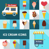 Ice cream square icons set Stock Photos