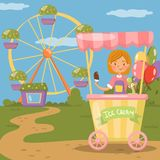 Ice cream stall, amusement park concept vector illustration,. Cartoon style Royalty Free Stock Image