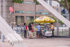 Ice Cream Stall at End of Cavenagh Bridge Royalty Free Stock Images