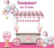Ice cream stand with balloons Vector. Summer background. Birthday card or event posters. Ice cream stand with balloons Vector. Summer background. Birthday card royalty free illustration