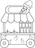 Ice cream stand coloring page Stock Images