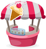 Ice cream stand shop. Illustration of isolated ice cream stand shop on white Stock Images