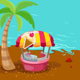 Ice cream stand shop on the beach. Illustration of ice cream stand shop on the beach Royalty Free Stock Image