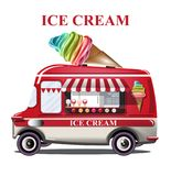 Ice cream stand vehicle Vector. Summer background. Birthday card or event posters. Ice cream stand vehicle Vector. Summer background. Birthday card or event stock illustration