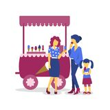 Ice cream stand, women and child girl stock illustration