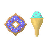 Ice cream on stick and bagel style of pixel art vector illustration. Royalty Free Stock Image