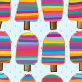 Ice cream stick sugar colorful drop seamless pattern. This illustration is design and drawing abstract ice cream stick with colorful sugar feel with drop Stock Photos