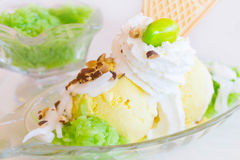 Ice cream with sticky rice and coconut Royalty Free Stock Image