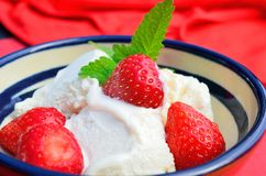 Ice cream with straberries. Vanilla ice cream with red strawberries Stock Images